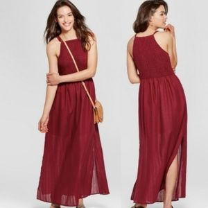 Universal Thread Smocked Maxi Dress in Burgundy